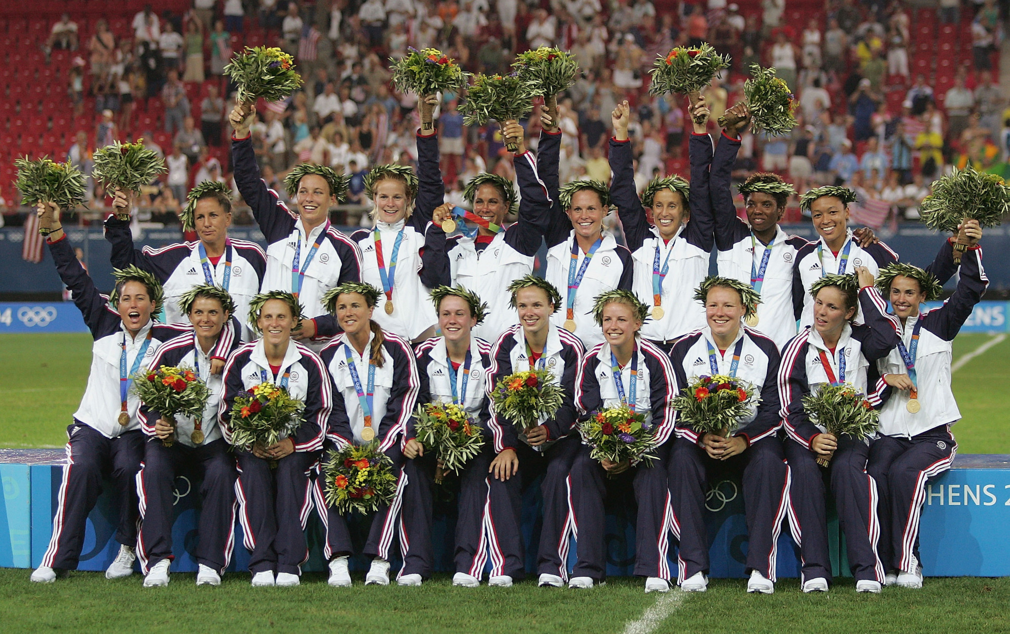 The United States Women's Team won Olympic gold at Athens 2004, beating several fellow Americans in their opening match against hosts Greece ©Getty Images