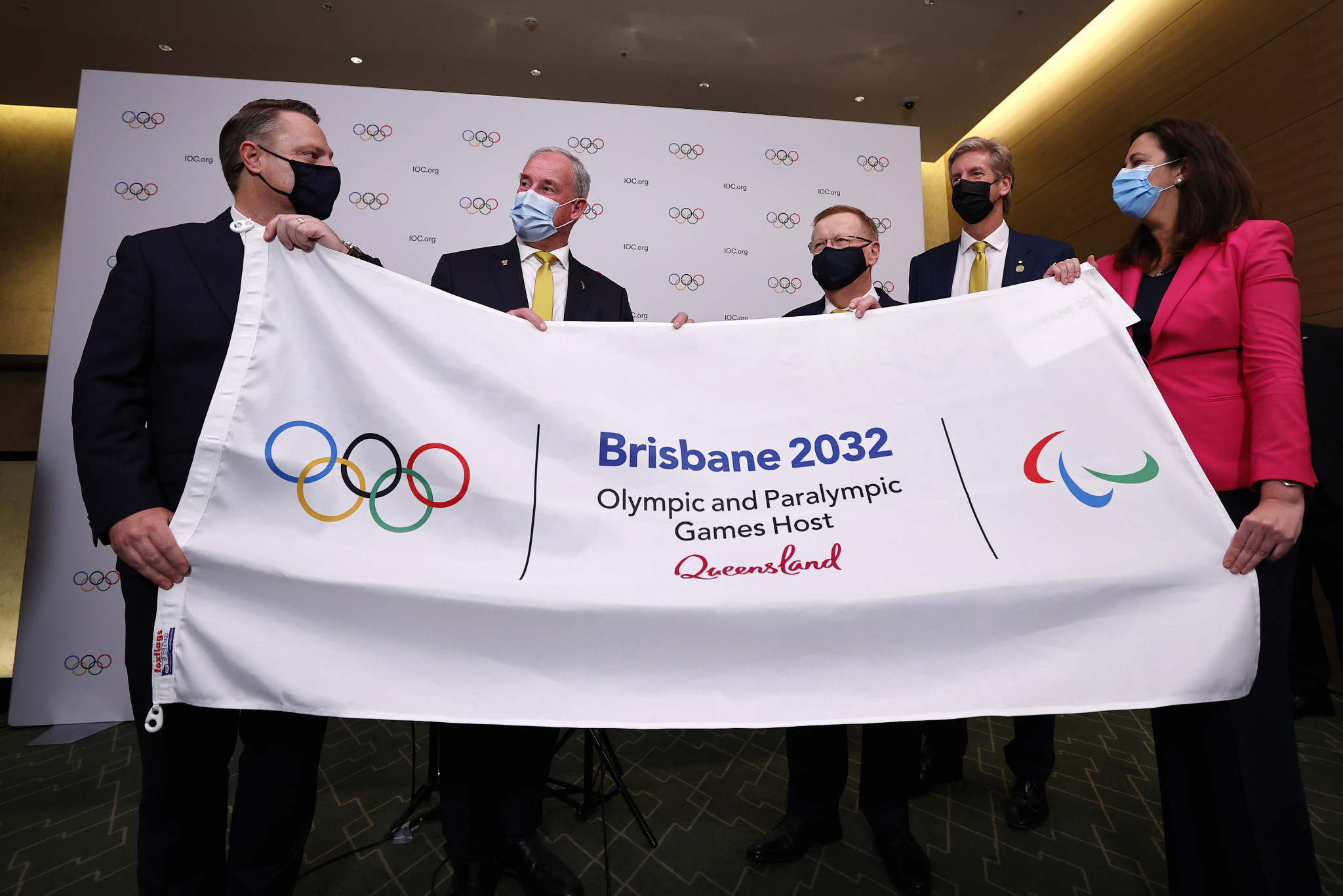 Australian Olympic Committee President John Coates, third right, has underlined the importance of the athlete representative on the Brisbane 2032 Organising Committee  ©Getty Images