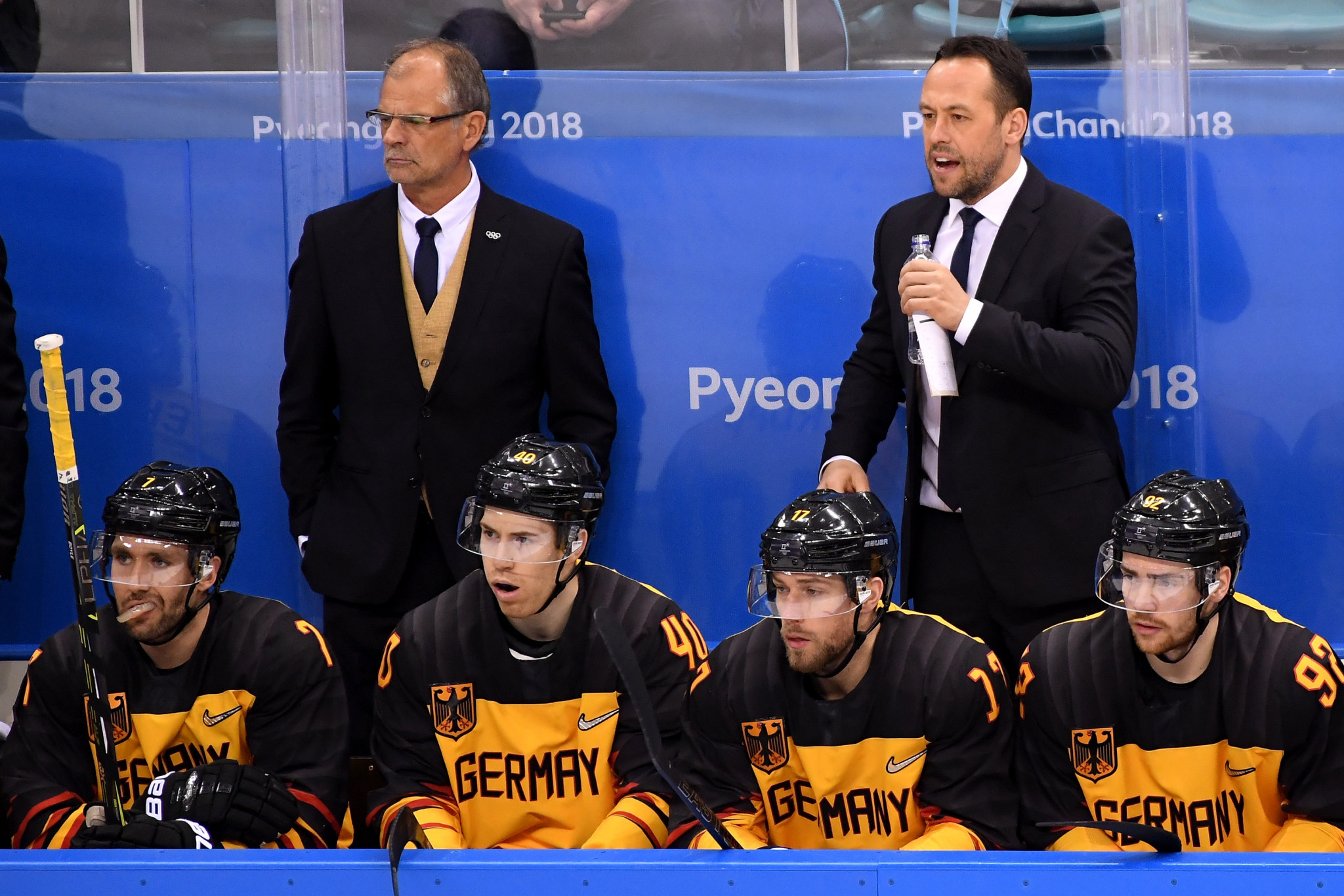 Former German head coach Marco Sturm, top right, has supported Franz Reindl's IIHF Presidential campaign ©Getty Images
