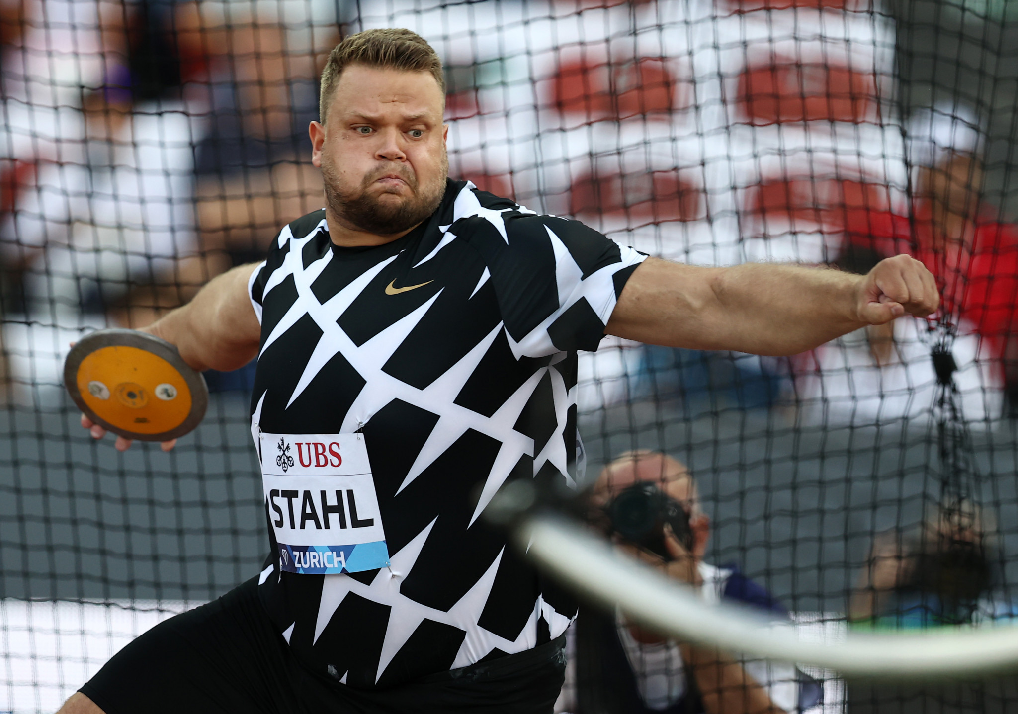 Olympic champion Daniel Ståhl triumphed in the men's discus in Zagreb, throwing 67.79m ©Getty Images