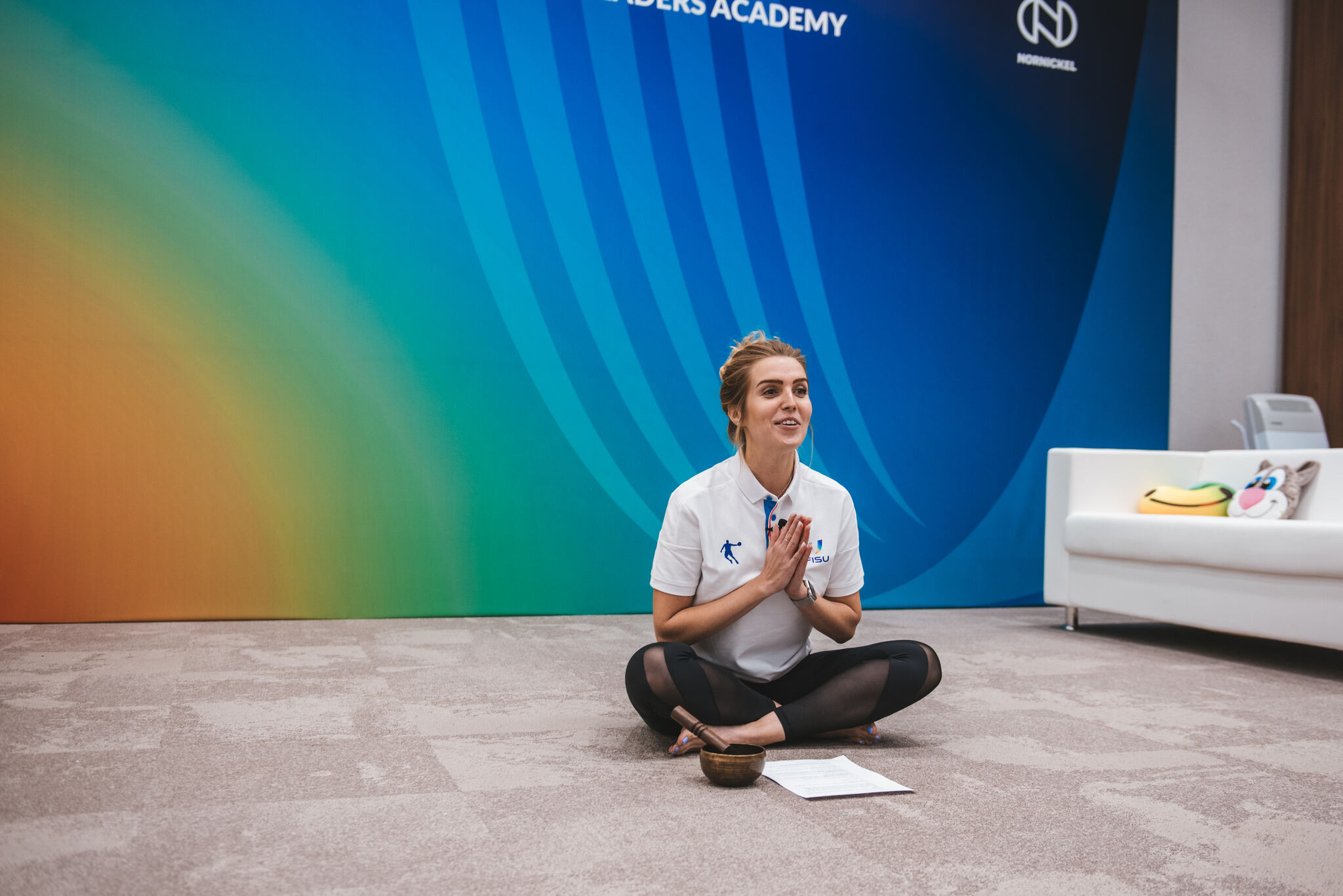 The event featured yoga sessions between presentations to ensure participants remained alert and healthy ©FISU