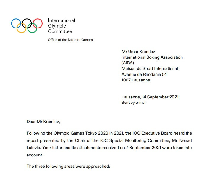 The IOC has written a letter to AIBA President Umar Kremlev to outline its ongoing concerns ©IOC