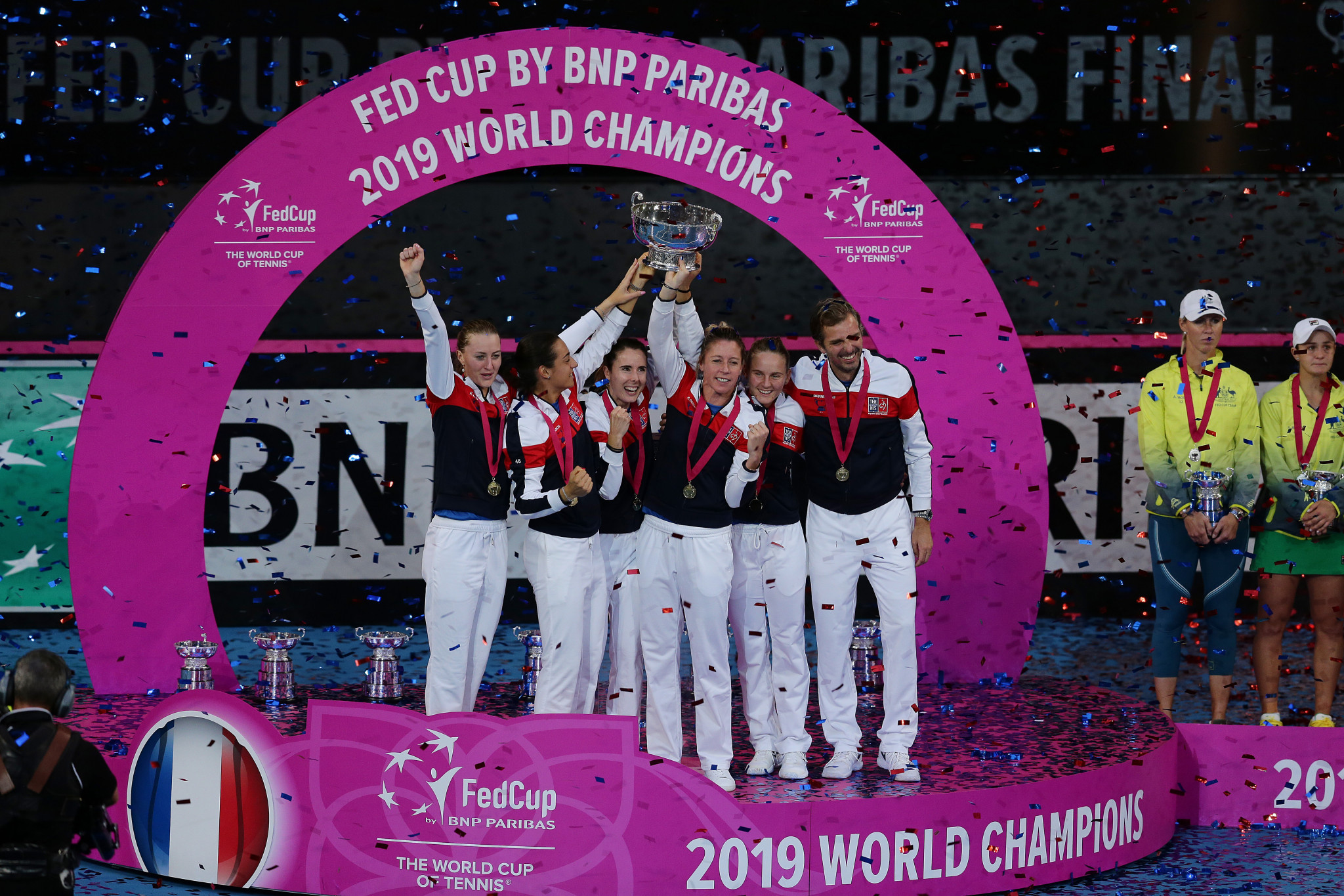 France won the 2019 Fed Cup after victory against Australia, with Kristina Mladenovic defeating Ajla Tomljanović and world number one Ashleigh Barty in both singles matches ©Getty Images