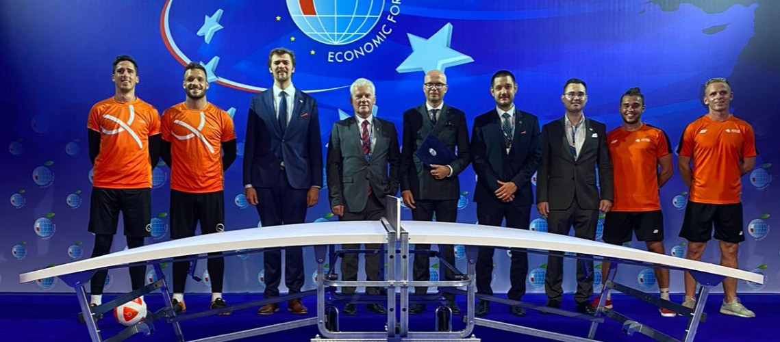 FITEQ head of corporate social responsibility and diplomatic relations Gergely Murányi   attended the Economic Forum and teqball promotional event ©FITEQ
