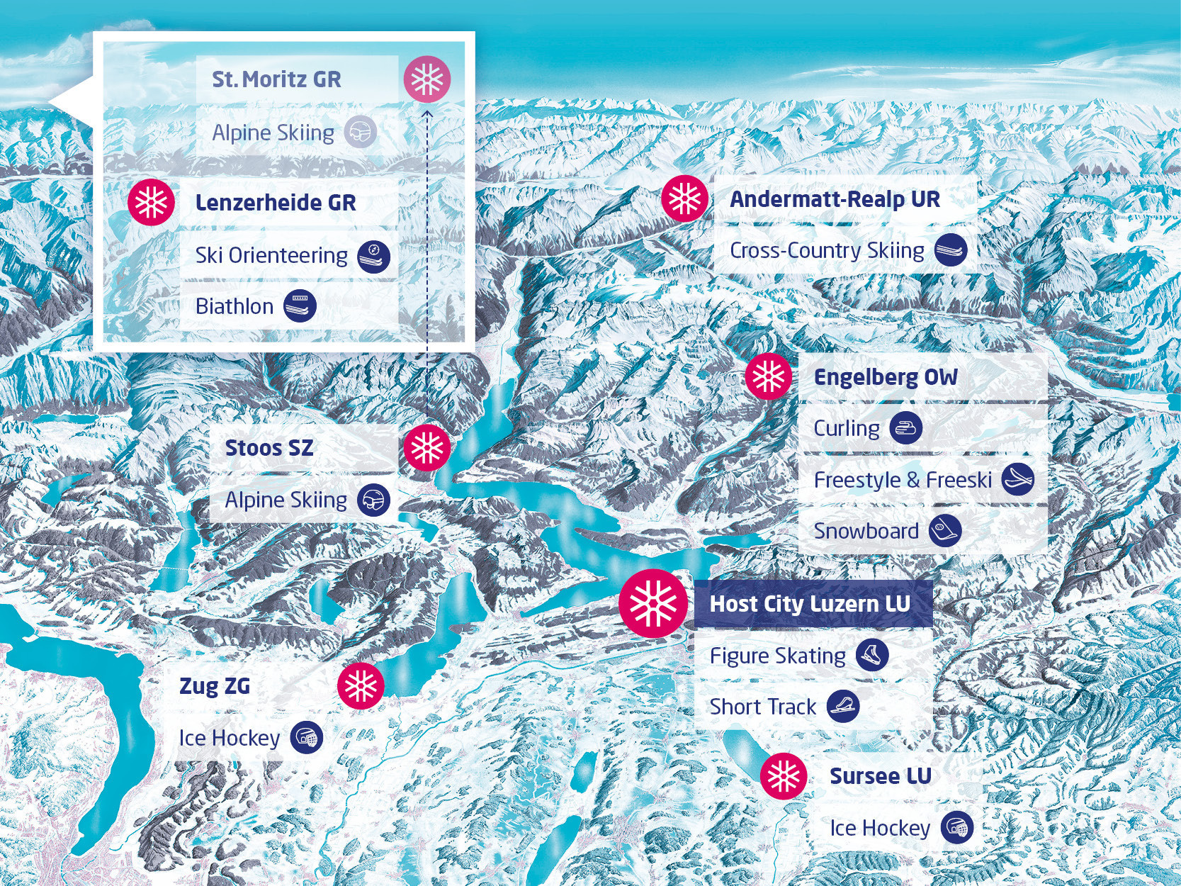 A map of competition at the Lucerne 2021 Winter Universiade ©Lucerne 2021