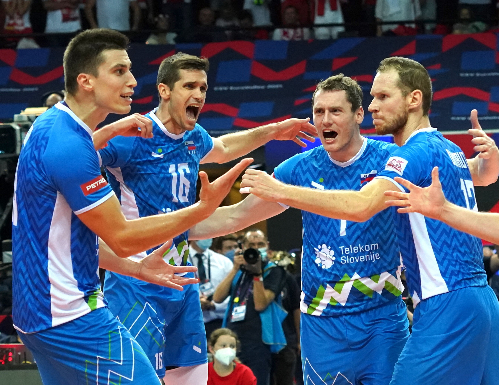 Following a thrilling fourth set against Poland, Slovenia secured their place in the CEV EuroVolley 2021 final ©Getty Images