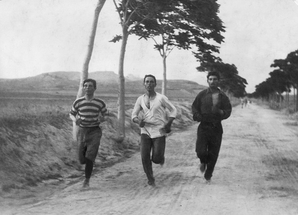 Three athletes preparing to contest the marathon at the first modern Olympics in Athens in 1896 - somewhere on those dirt roads at least one woman was also in training with the same target, although she would be frustrated in her aim ©Getty Images