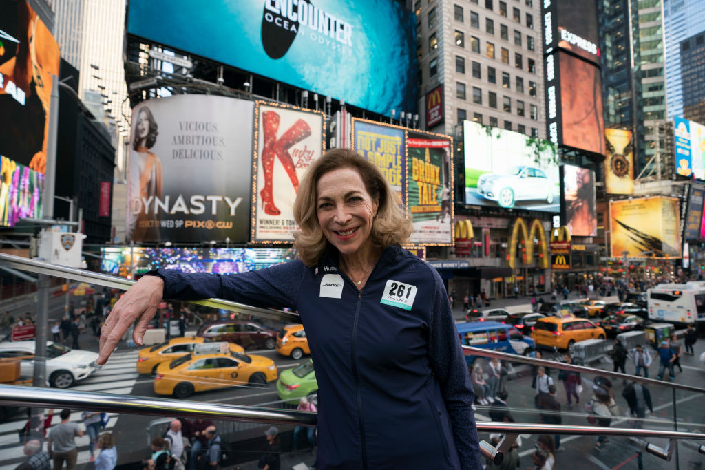 Kathrine Switzer, women's marathon pioneer, pictured in Times Square shortly before running the New York Marathon in 2017 aged 70 ©Getty Images