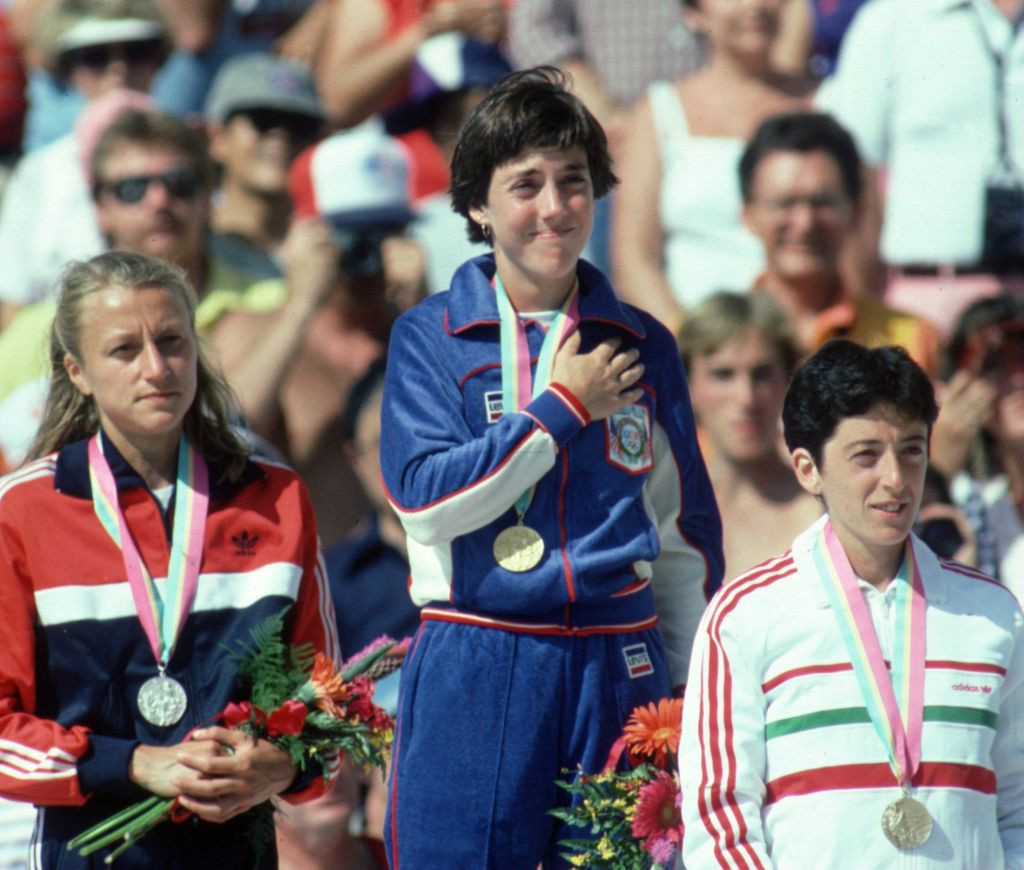At the 1984 Los Angeles Games, Grete Waitz won silver in the first Olympic women's marathon race, with gold going to home runner Joan Benoit and bronze to Portugal's Rosa Mota ©Getty Images