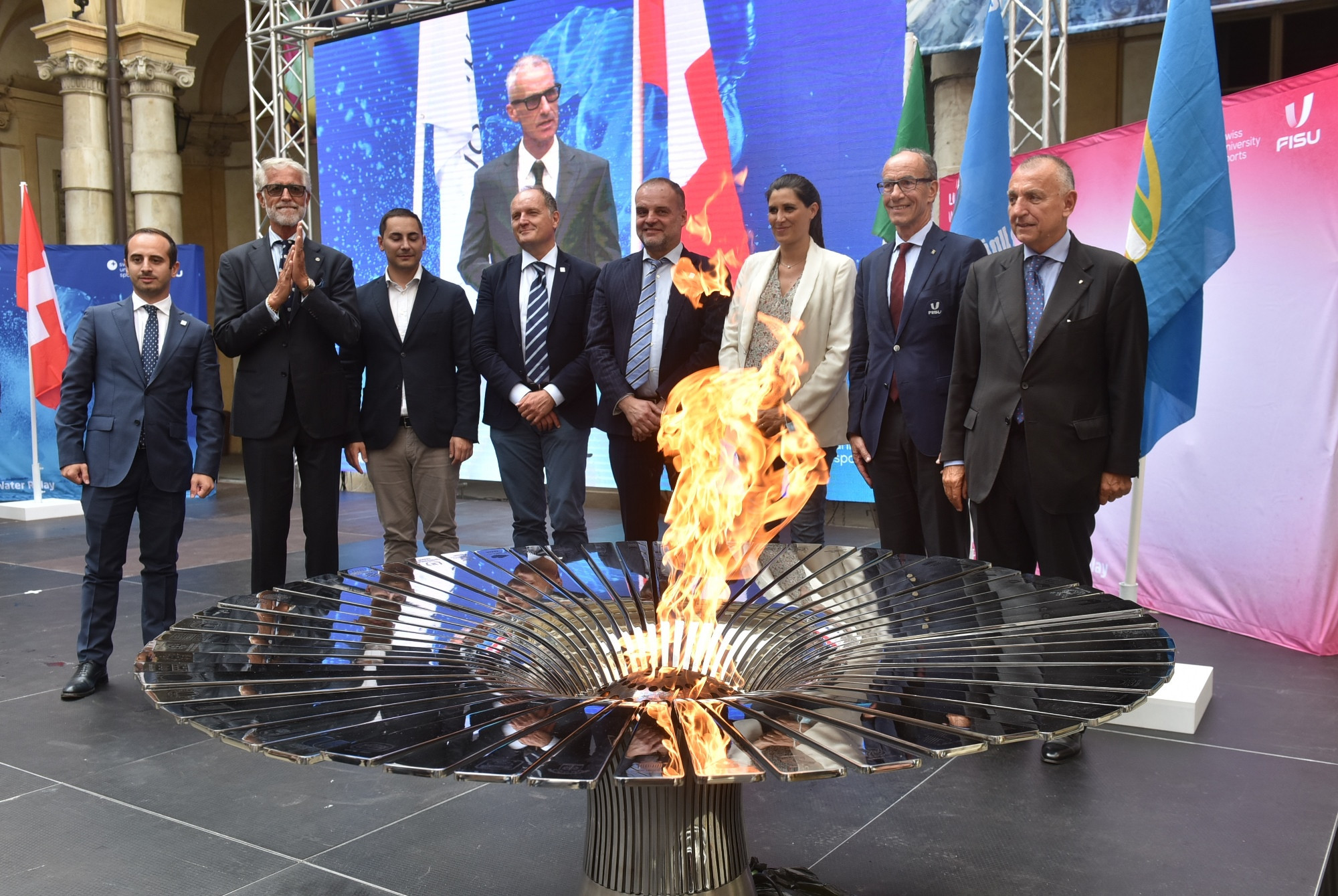 Lucerne 2021 Winter Universiade Flame Relay turns fire to water