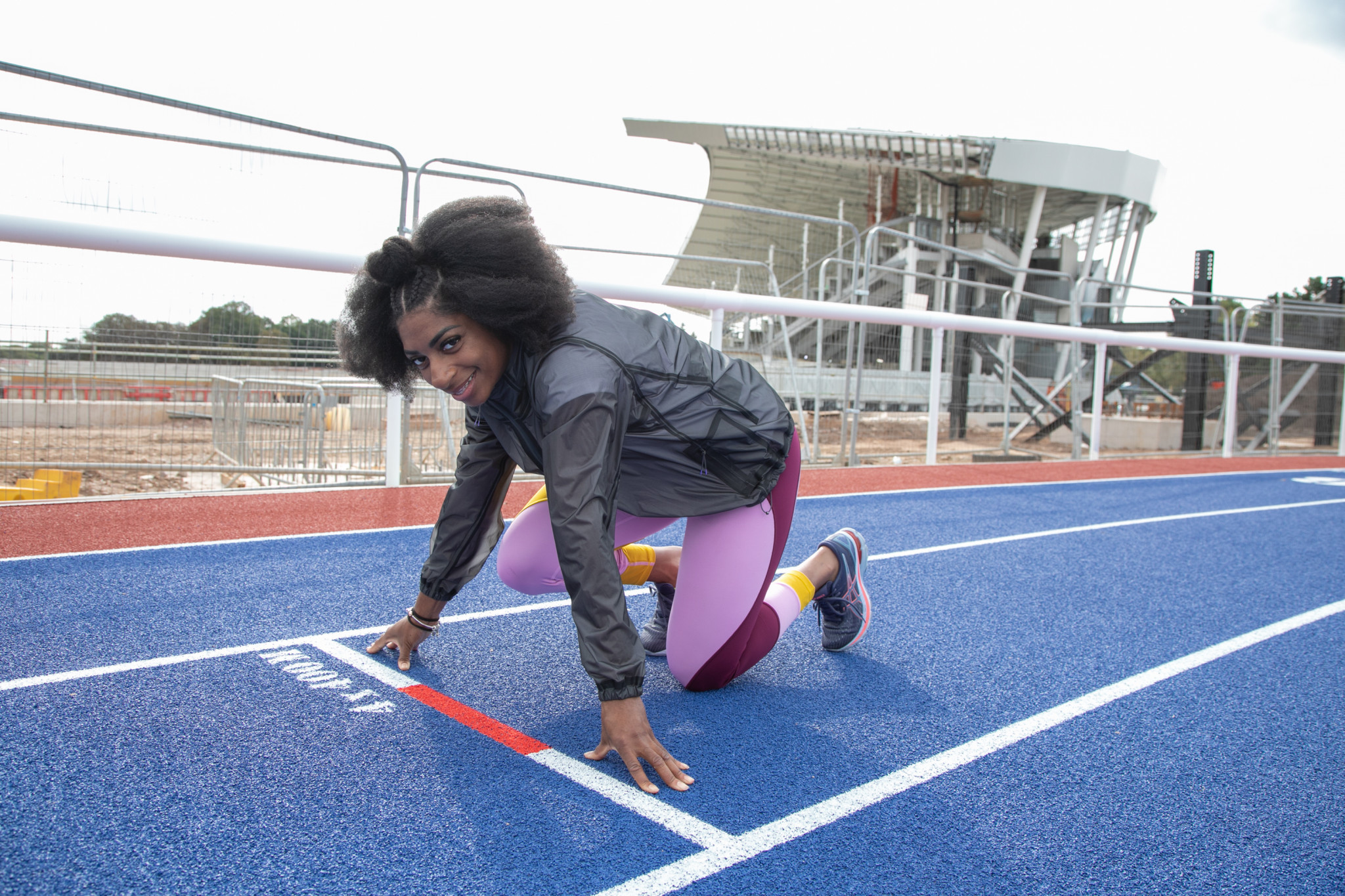 Kadeena Cox is on her marks and ready for a run around the Alexander Stadium, which is currently undergoing renovation in the build-up to the Birmingham 2022 Commonwealth Games ©Birmingham 2022