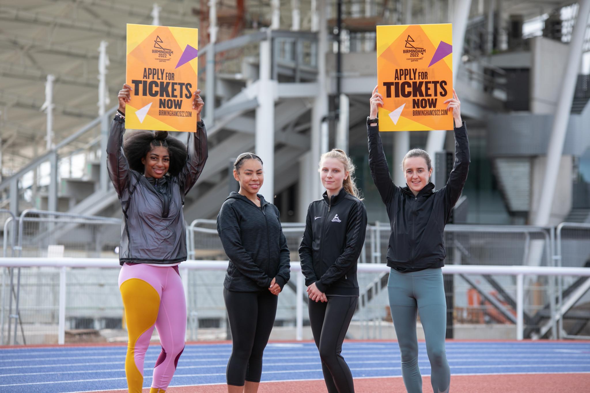 From left athletes Kadeena Cox, Sophia Deans, Amy Harland and Laura Muir at the Alexander Stadium ©Birmingham 2022