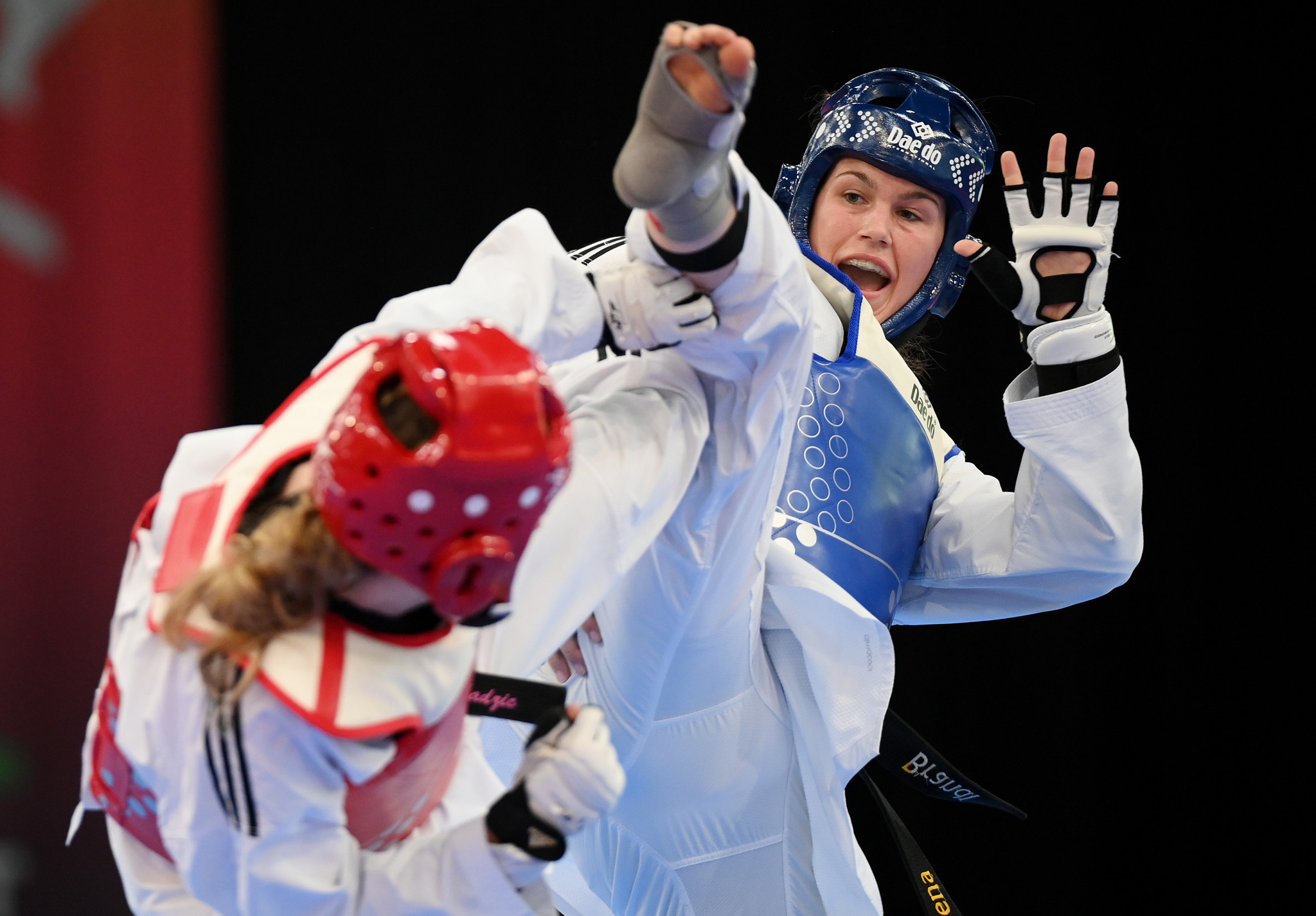 Lorena Brandl of Germany, in blue, took gold in the women's under-73kg category at the ETU President's Cup ©Getty Images