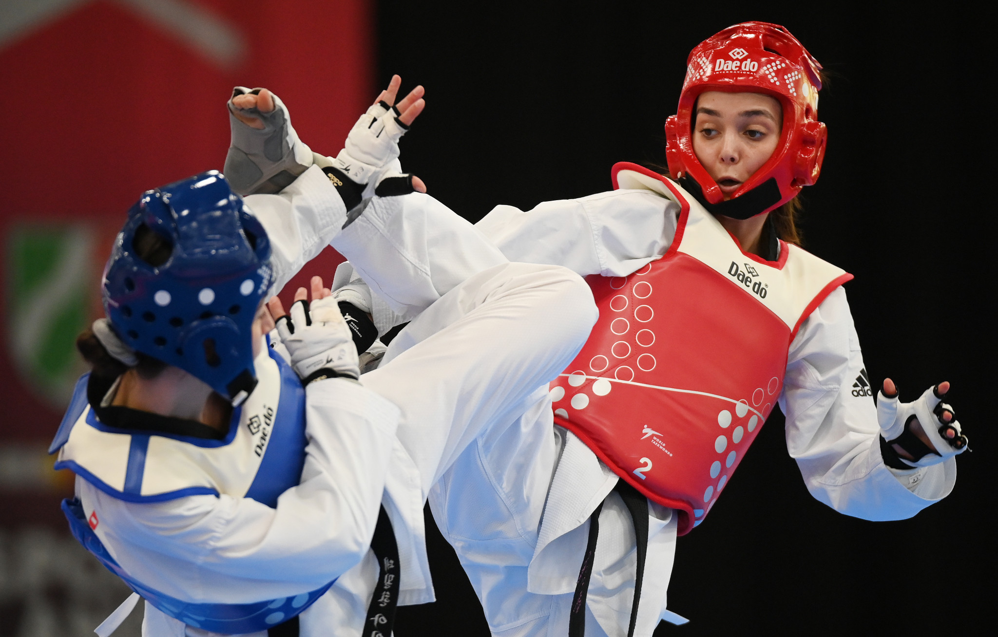 Germany's Sueheda Celik, in red, claimed gold in the women's under-49kg category at the ETU President's Cup ©Getty Images