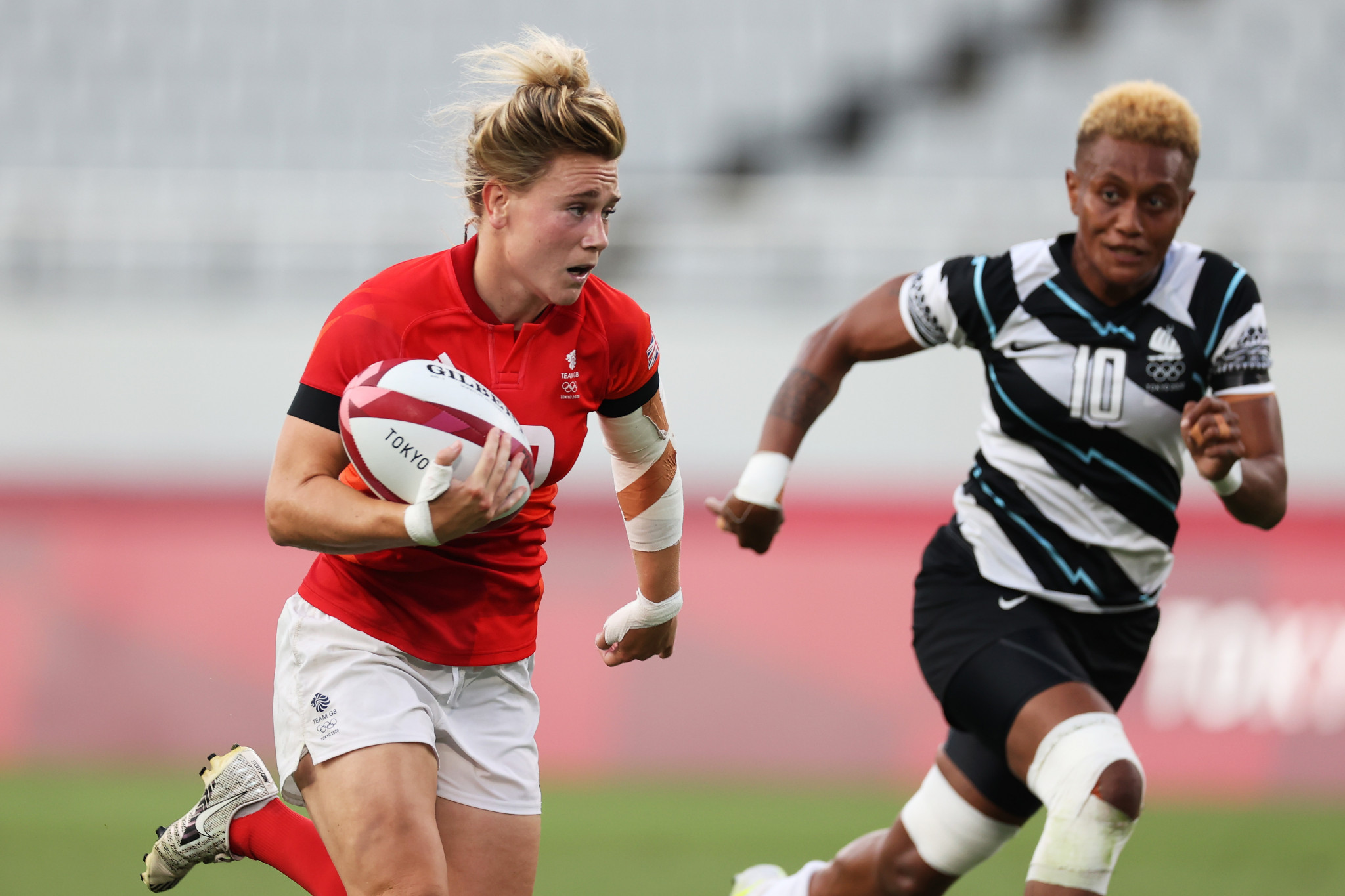 Megan Jones and Britain, who finished fourth at Tokyo 2020, will be looking to extend their lead in the Women's World Rugby Sevens Series in Edmonton ©Getty Images