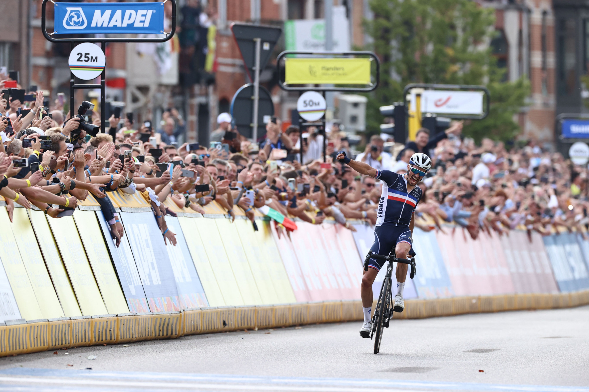 Alaphilippe retains men's road race title after solo win at UCI World Championships