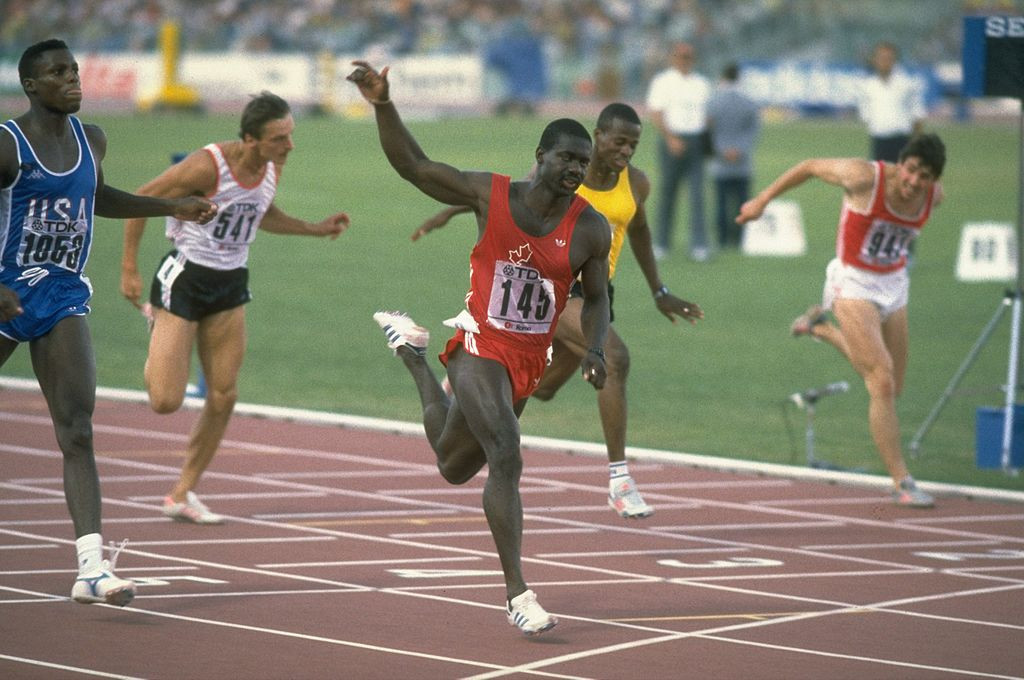 Suspicions over Ben Johnson's startling performances over 100m had begun to rise following his victory over Carl Lewis, left, in a world record of 9.83sec at the 1987 World Championships in Rome ©Getty Images