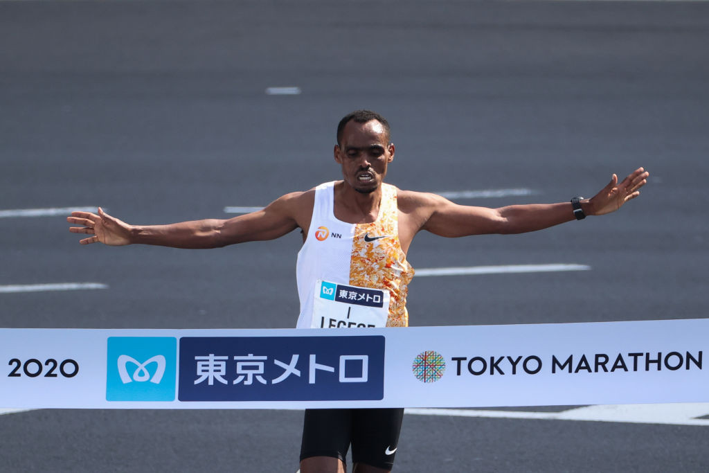 Ethiopia's Birhanu Legese, pictured winning his second Tokyo Marathon title last year, has targeted Eliud Kipchoge's course record of 2hr 2min 37sec in tomorrow's men's race at the London Marathon ©Getty Images