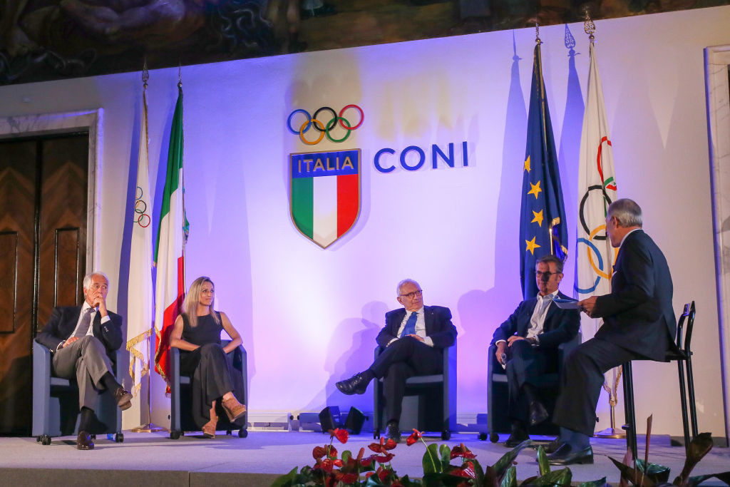 Milan Cortina 2026 chief executive Vincenzo Novari, second right, said joining the framework was an important milestone for organisers ©Getty Images