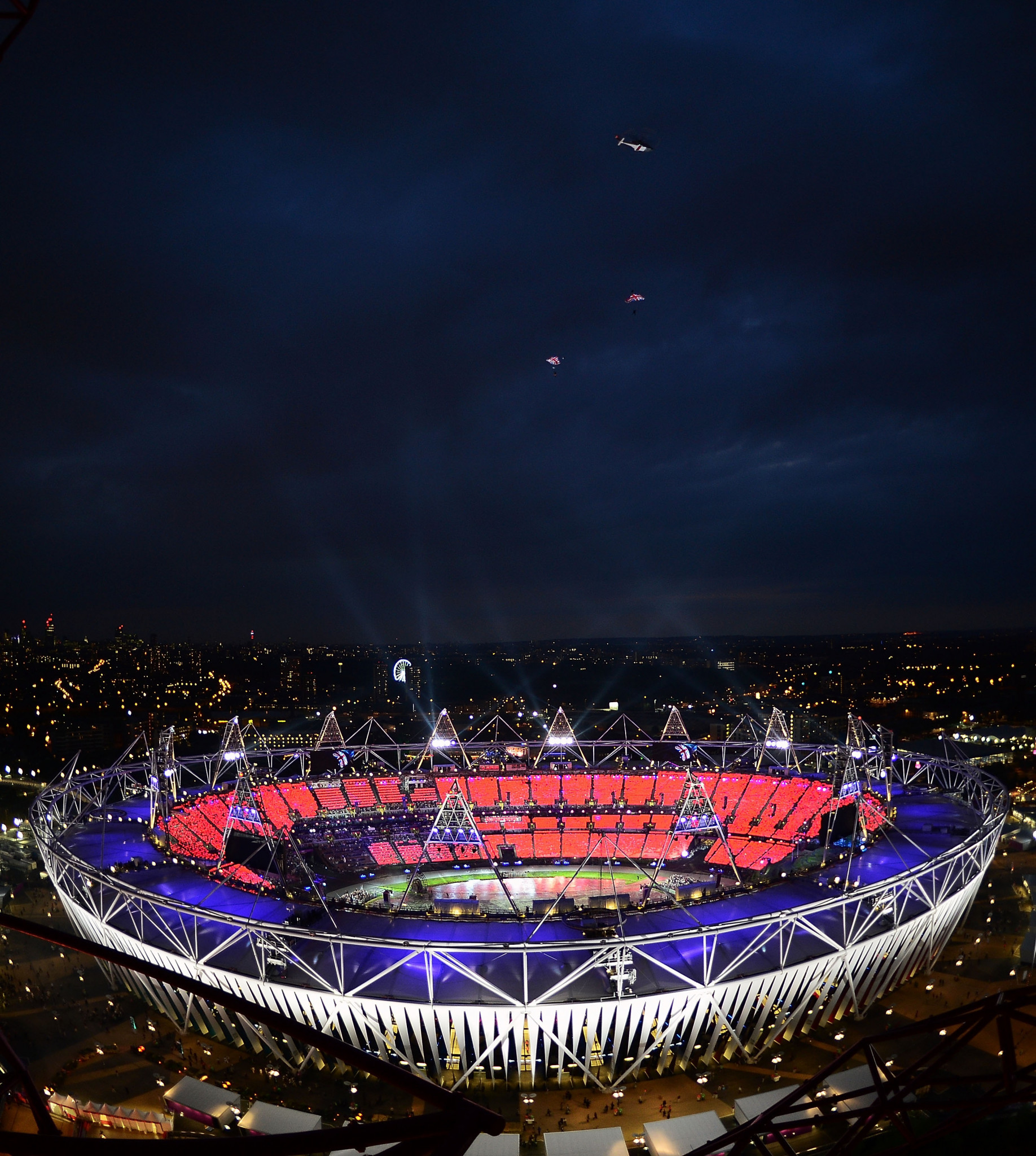 A James Bond figure leapt out of a helicopter as part of the London 2012 Opening Ceremony ©Getty Images