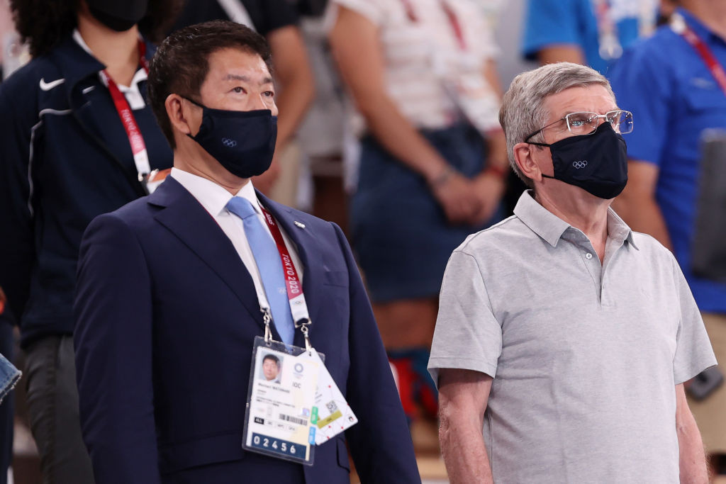 Morinari Watanabe, left, is facing a challenger in his bid for re-election as head of the International Gymnastics Federation ©Getty Images