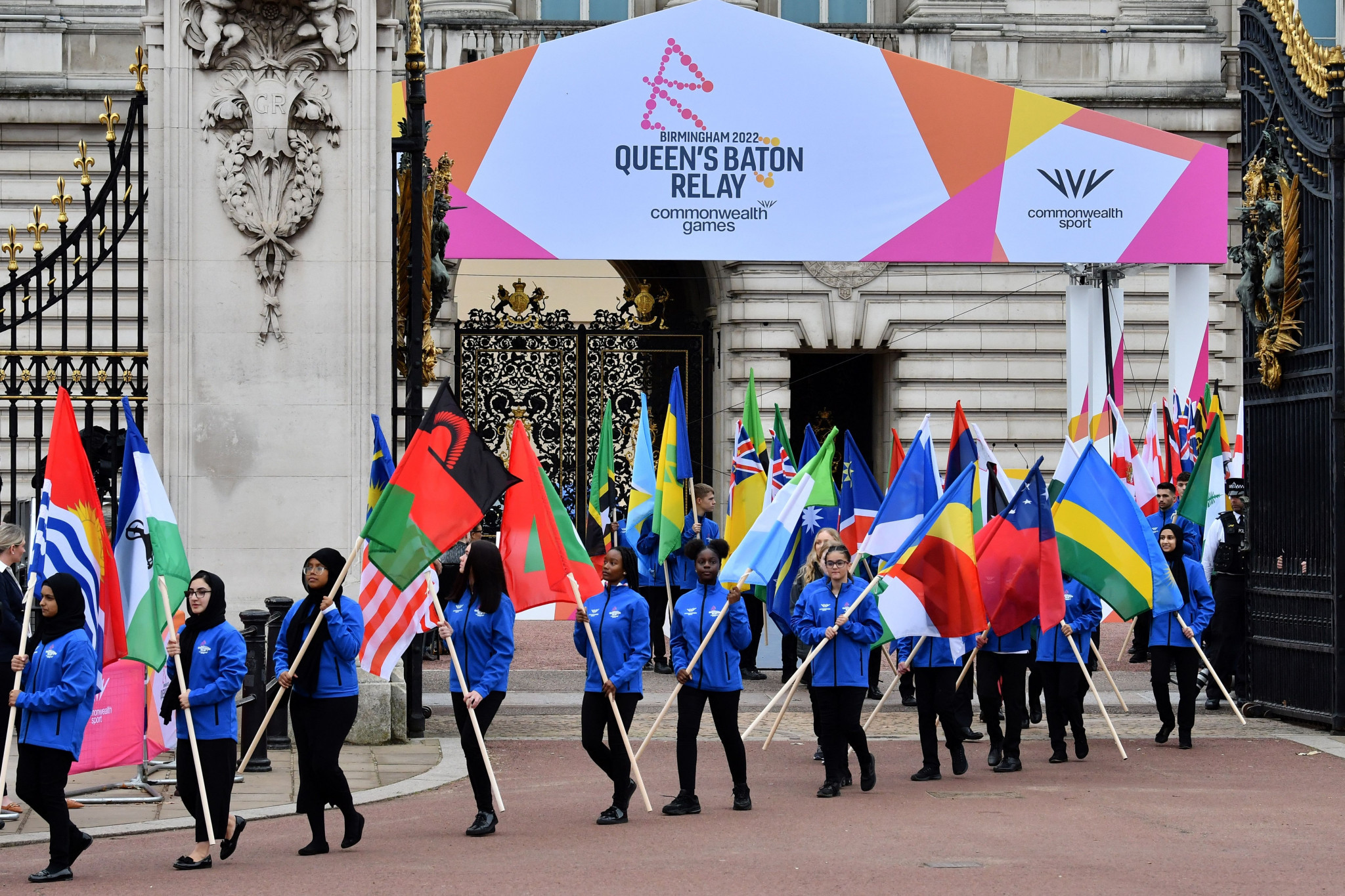 A parade of flags celebrated all 72 nations and territories set to compete in the Commonwealth Games next summer ©Getty Images