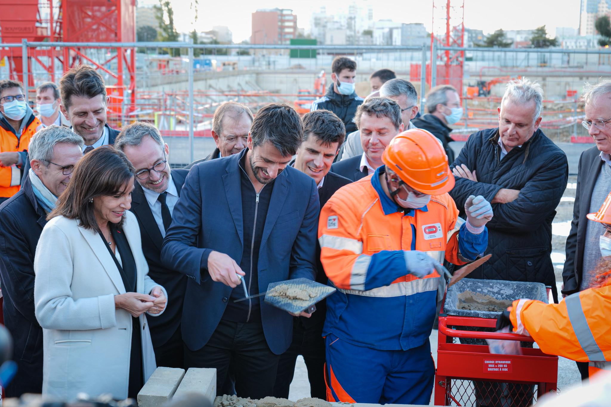 Paris Mayor Hidalgo lays first stone of Arena Porte de la Chapelle project for Paris 2024