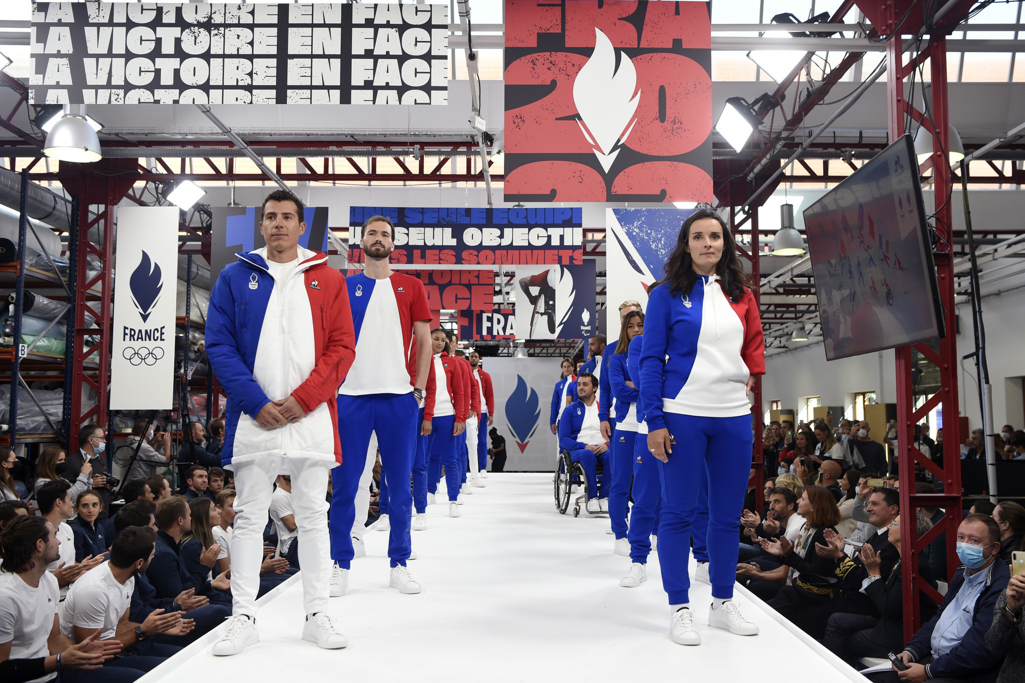 New uniforms for Beijing 2022 bearing the new French logo were unveiled at a ceremony at Le Coq Sportif's factory in Romilly-sur-Seine ©CNOSF/KMSP