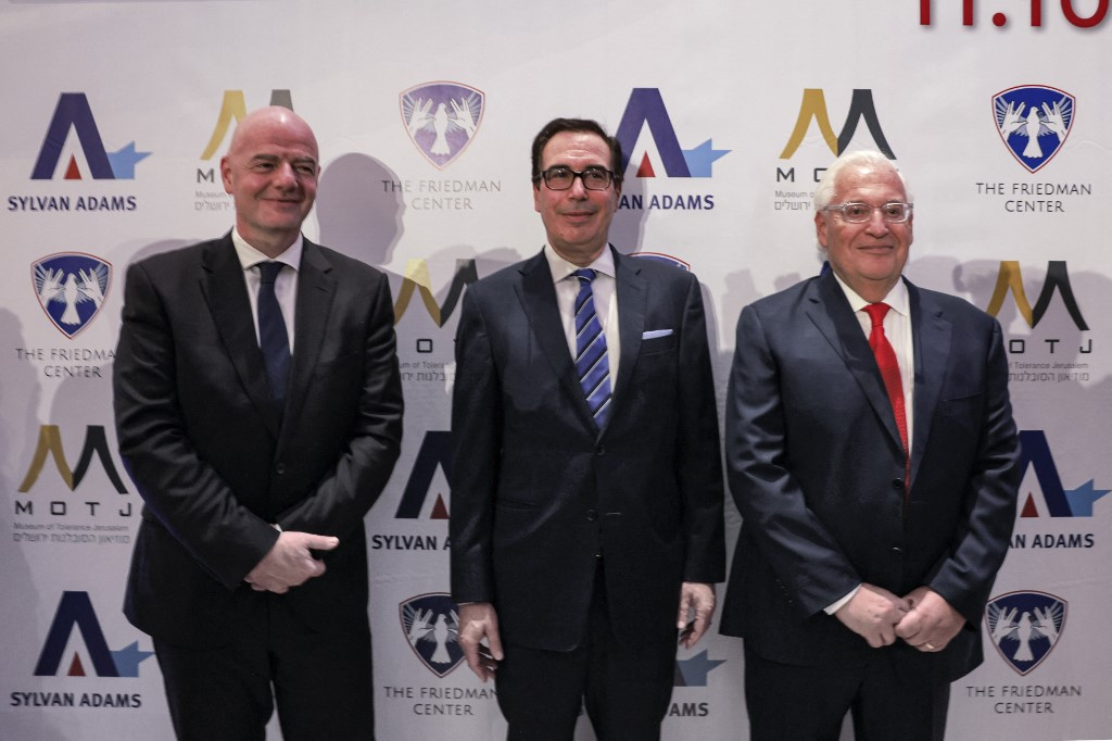 FIFA President Gianni Infantino, left, has angered Palestine by attending an event organised by the United States' former Ambassador to Israel, David Friedman, right ©Getty Images