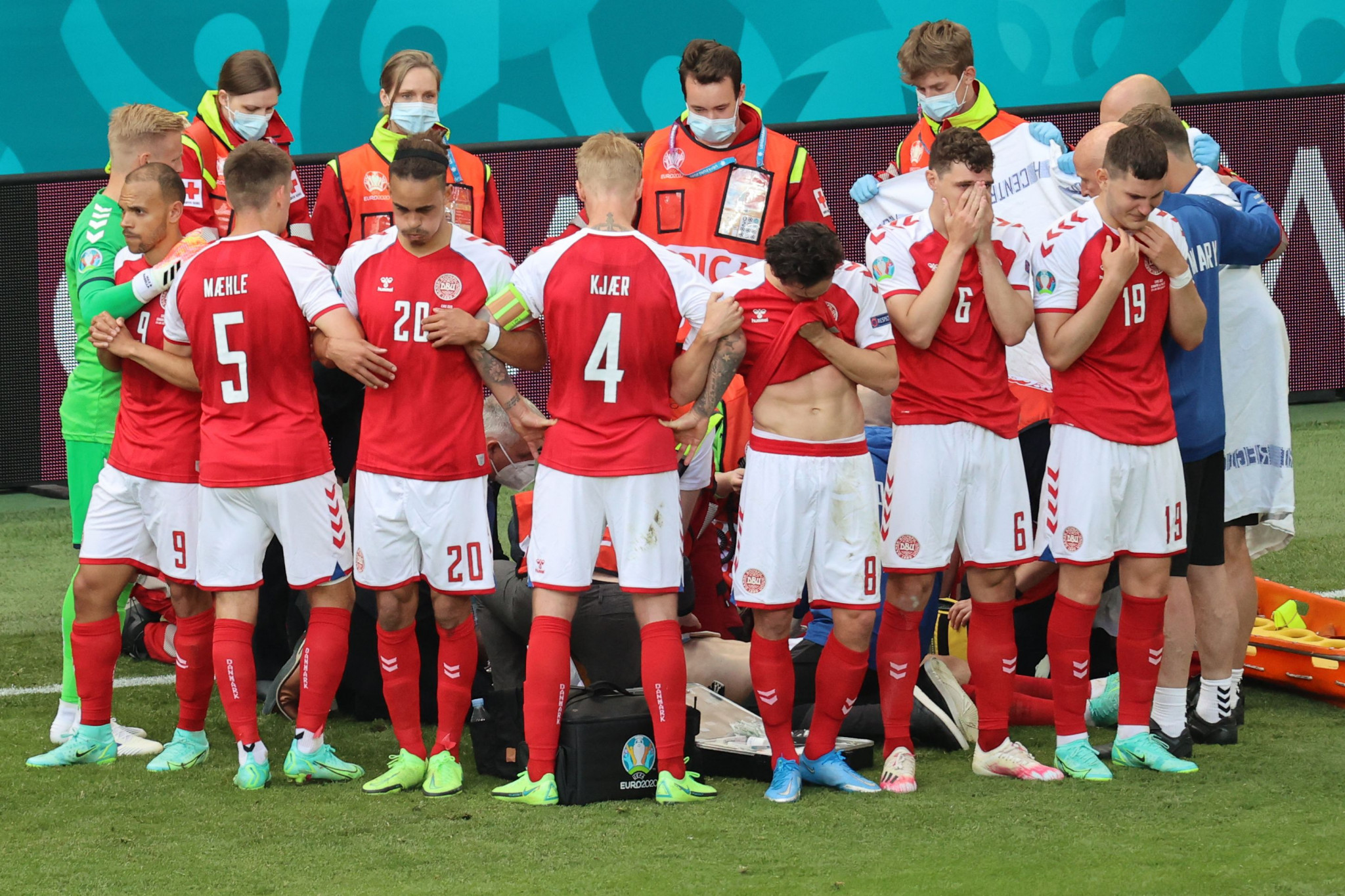 Denmark have been awarded a fair play award for their actions in the aftermath of Christian Eriksen's cardiac arrest, including forming a wall to shield their team mate ©Getty Images