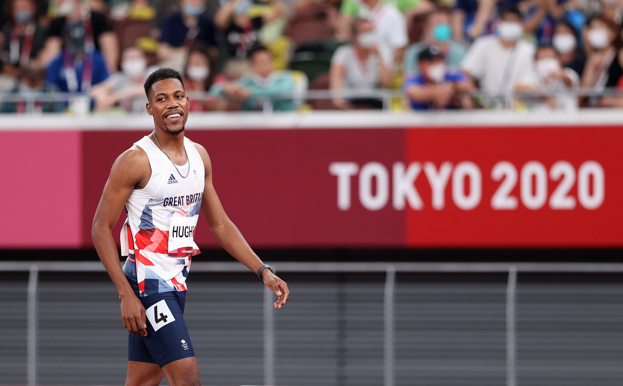 Anguilla-born Zharnel Hughes was disqualified from the men's 100m final at Tokyo 2020 and could now lose a relay medal ©Getty Images