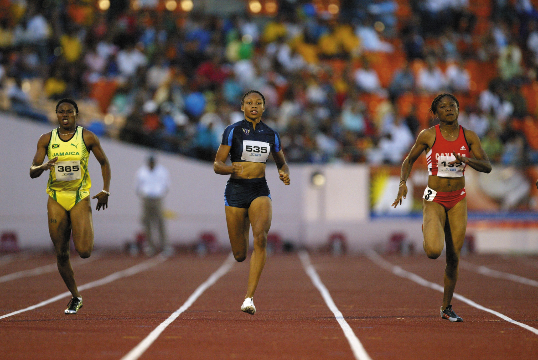 Cydonie Mothersille, right, won gold for the Cayman Islands at the 2010 Commonwealth Games ©Getty Images