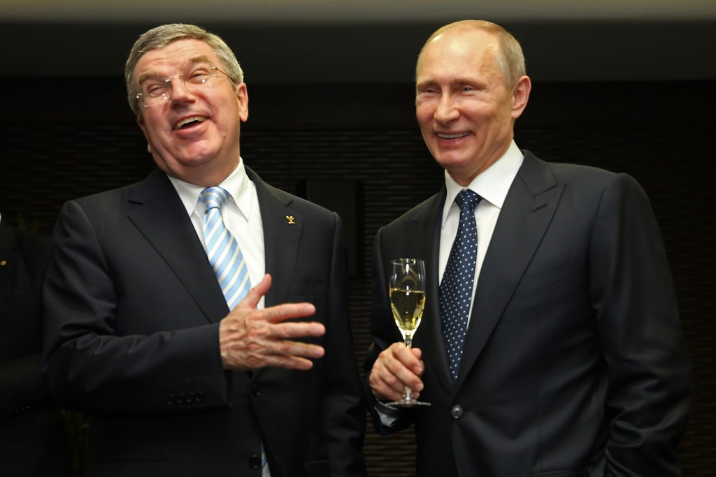 Thomas Bach pictured with Russian President Vladimir Putin during Sochi 2014 ©Getty Images