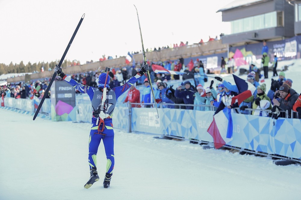Emilien Claude claimed French biathlon gold in the men's 7.5km sprint ©Lillehammer 2016