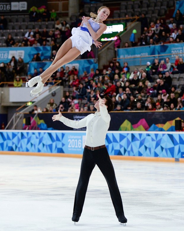 Alina Ustimkina and Nikita Volodin in action for eventual fifth-placed finishers Team Determination during the mixed figure skating team event ©Lillehammer 2016
