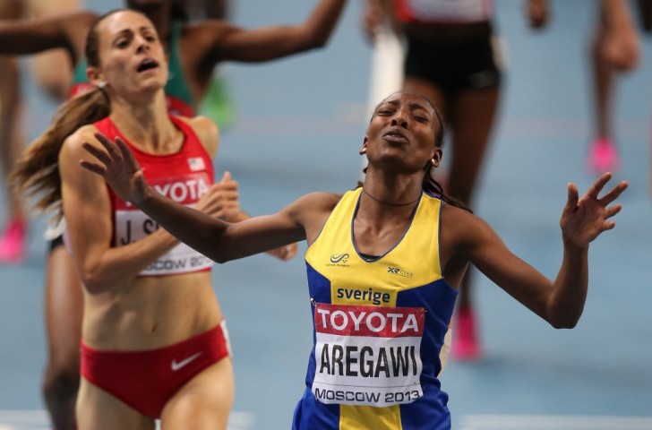 Abeba Aregawi, pictured beating Jennifer Simpson to the 2013 world 1500m title in what was her first year running for Sweden, has tested positive for a banned substance, according to the IAAF ©Getty Images
