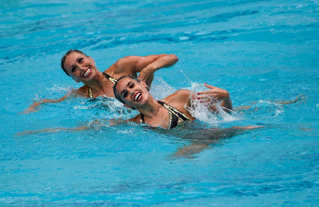 Gemma Mengual and Ona Carbonell of Spain won the duet event at the Rio 2016 synchronised swimming qualifier ©Getty Images