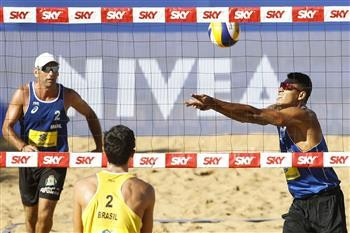Former world champion Márcio Araújo and partner Luciano Ferreira de Paula won an all-Brazilian qualifying match on the opening day of the FIVB Vitória Open to advance to the main men's draw ©FIVB
