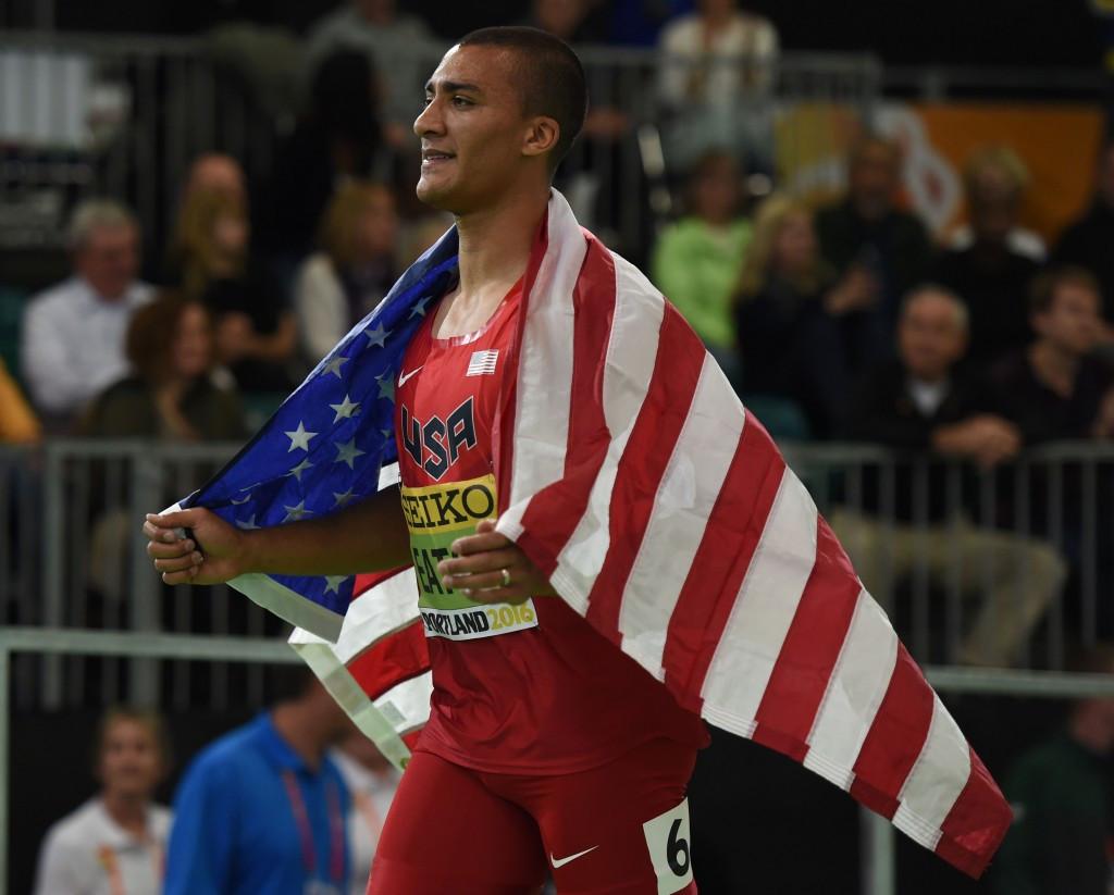 Ashton Eaton claimed a third successive World Indoor heptathlon title ©Getty Images