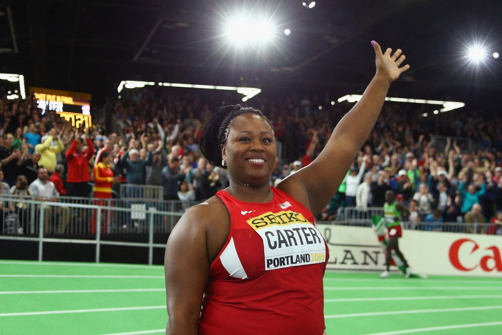 Michelle Carter saved her best for last in the shot put ©Getty Images