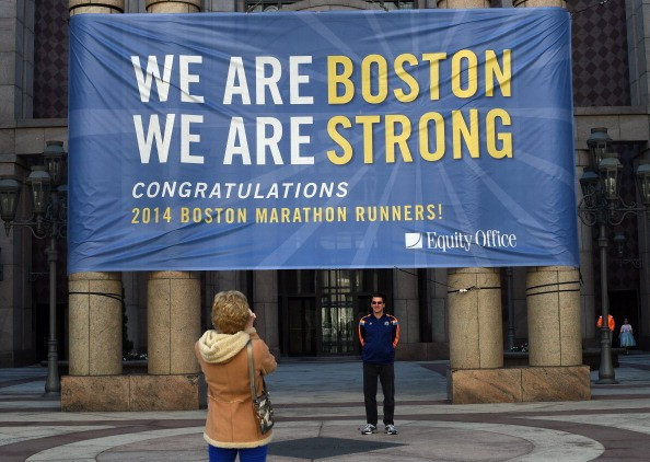 Boston's message to the world a year after the bombings at the finish line of the 2013 Marathon ©Getty Images