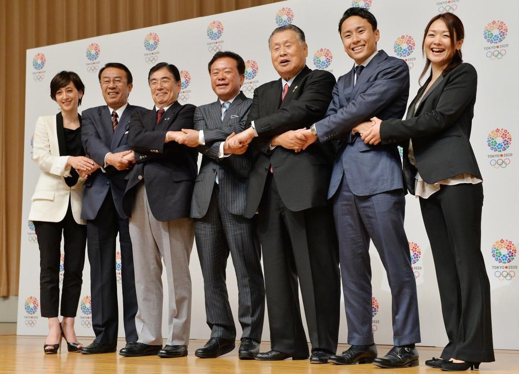 Tokyo 2020 bid leaders celebrate their victory after their successful efforts in 2013