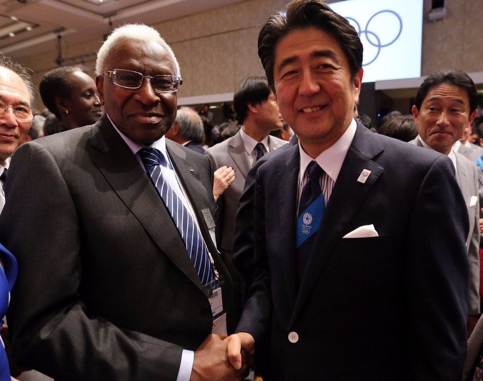 Shinzō Abe (right) pictured with Lamine Diack at the IOC Session in Buenos Aires at which Tokyo was awarded the Games ©Getty Images