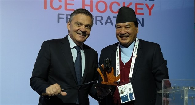 IIHF head René Fasel (left) with Nepal Ice Hockey Federation President Lok Bahadur Shahi ©IIHF/Martin Merk