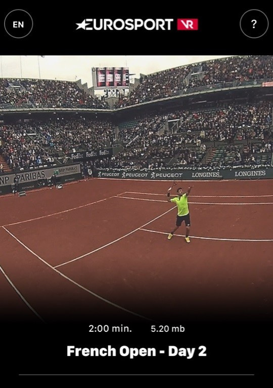 Eurosport unveil virtual reality app for French Open at Roland Garros