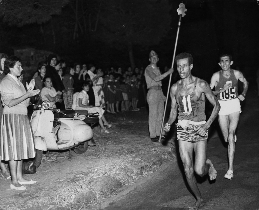 Ethiopia's Abebe Bikila won the men's marathon at the 1960 Olympic Games in Rome while running barefoot