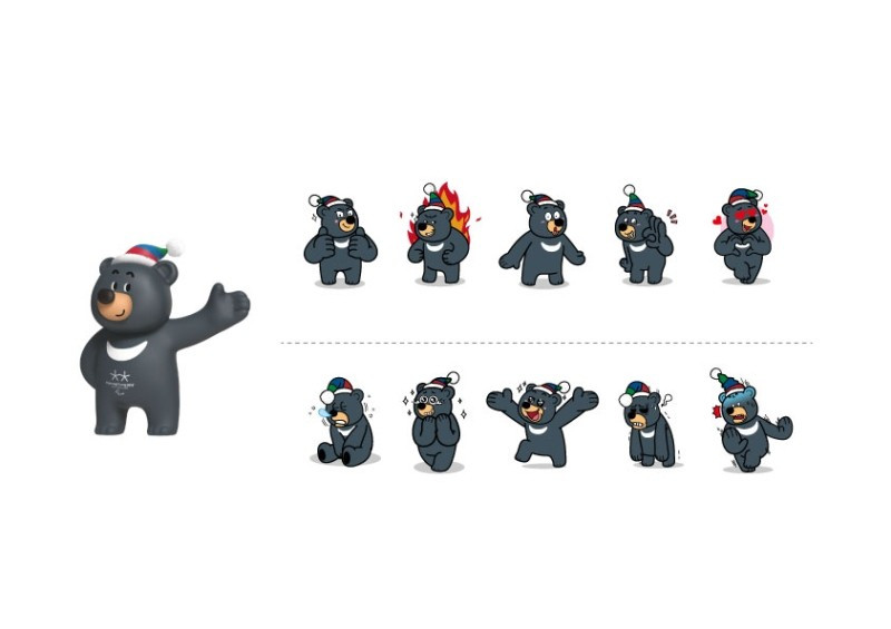 A selection of the images of the bear Paralympic mascot ©Pyeongchang 2018