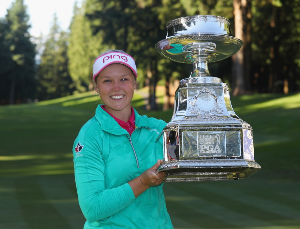 Canada's Brooke Henderson claimed her first major title today, beating world number one Lydia Ko in a sudden-death play-off at the KPMG Women's PGA Championship ©Getty Images