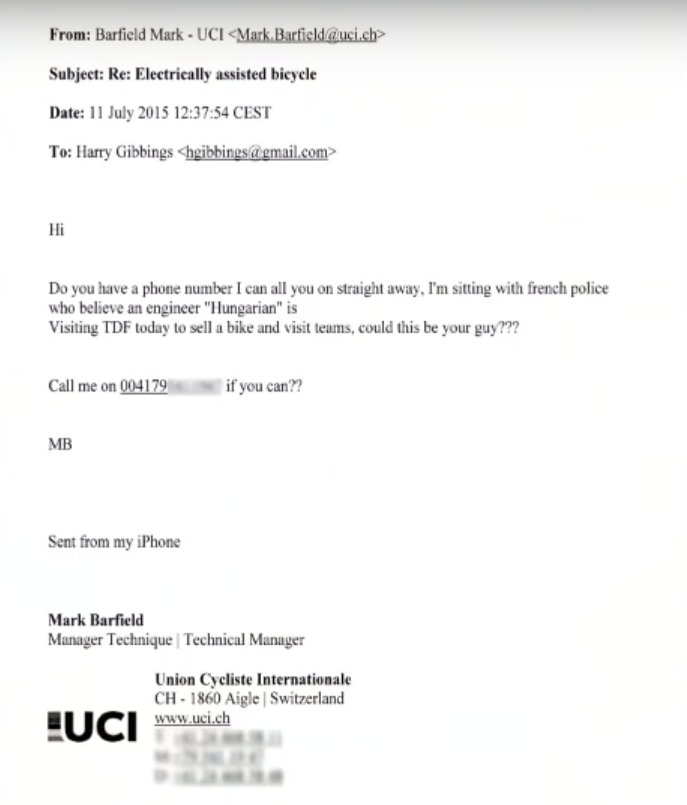 Stade 2 showed an email exchange between Mark Barfield and Harry Gibbings during their programme