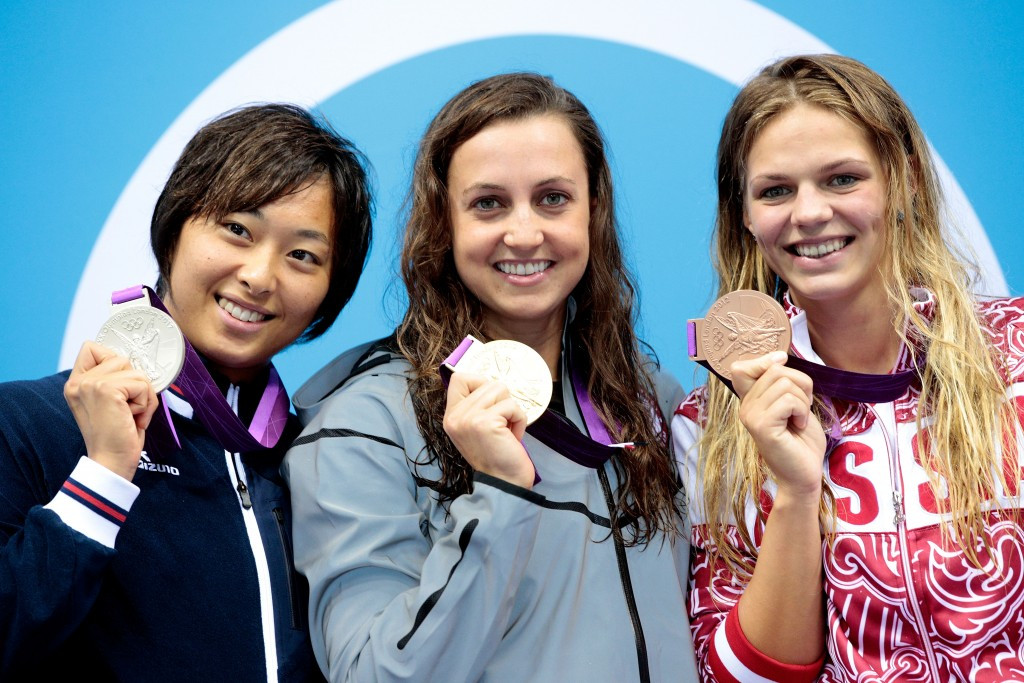 Yuliya Efimova (right) claimed a 200m breakstroke bronze medal at London 2012 ©Getty Images